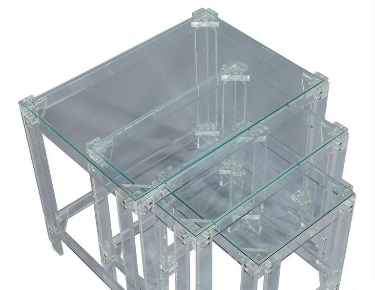 Set Of Vintage Lucite And Glass Nesting Tables For Sale At