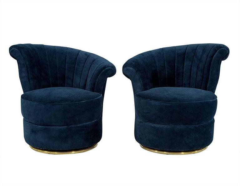 navy blue velvet slipper chair babies r us canada high pair of shell occasional chairs for sale at 1stdibs