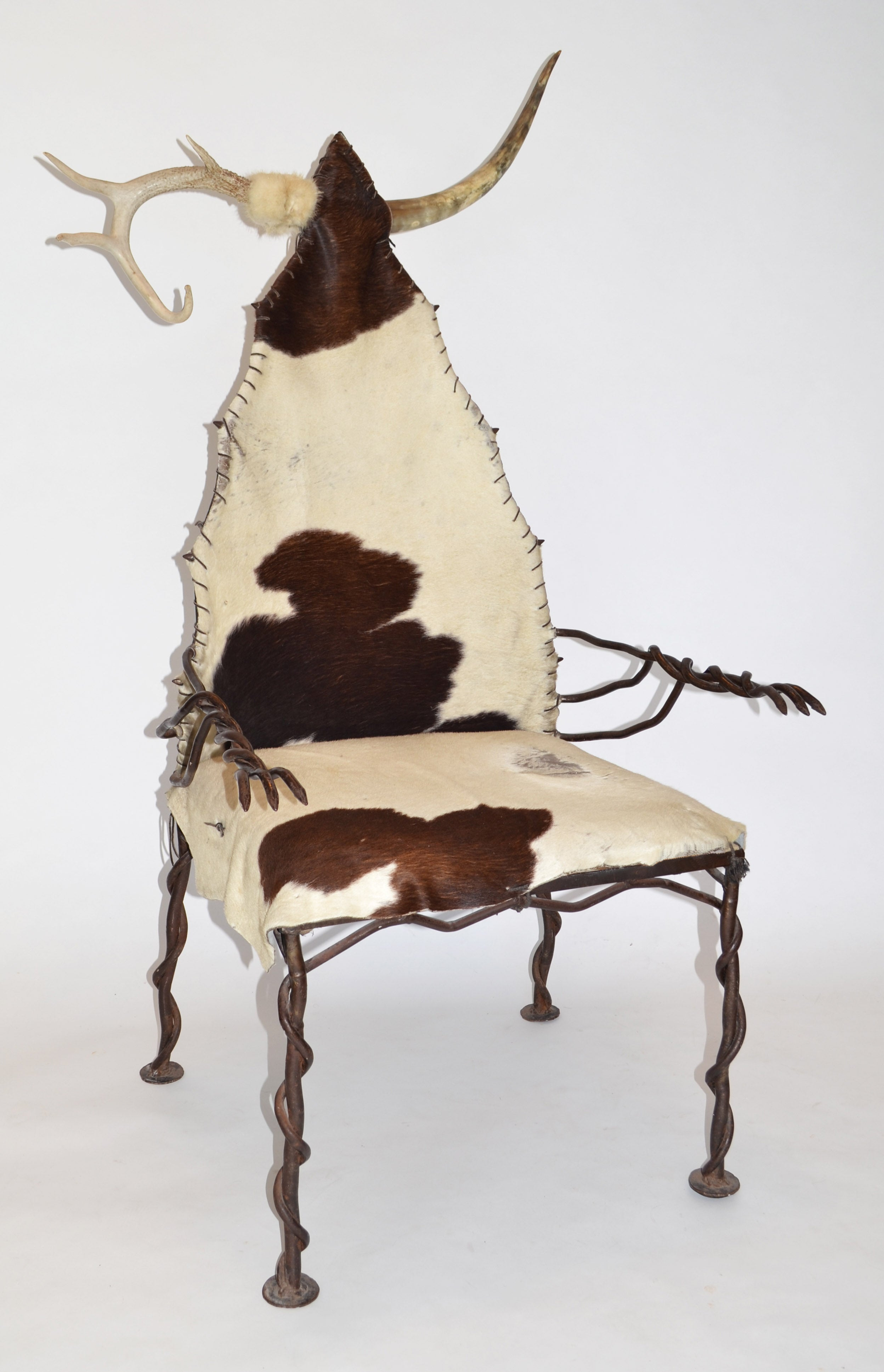 Cow Hide Chair Chieftan Chair In Wrought Iron Horn Antler And Cow Hide