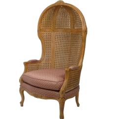 Cane Back Chairs Antique Acapulco Chair Leather Vintage Hand Carved High Hooded For Sale