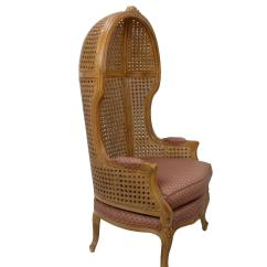 Antique High Back Wicker Chairs Bertoia Diamond Chair Cover Replacement Vintage Hand Carved Cane Hooded For Sale