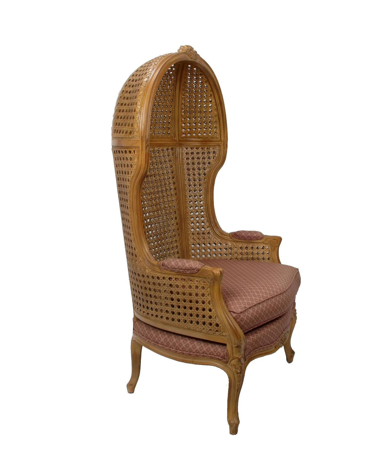 Hooded Chair Vintage Hand Carved Cane High Back Hooded Chair For Sale