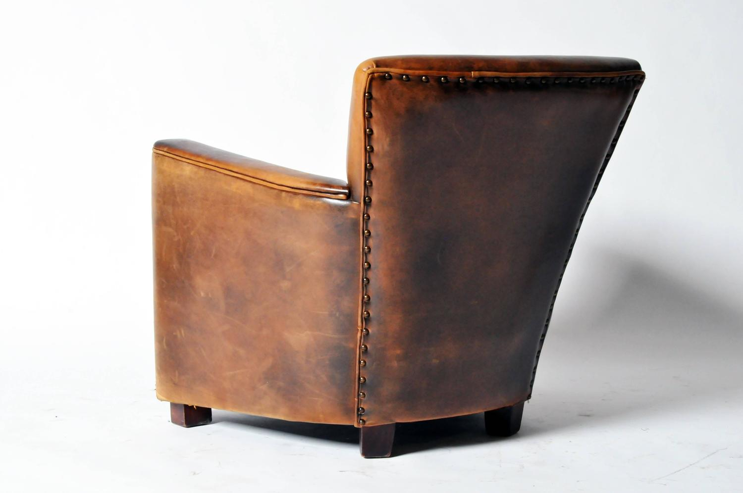 distressed leather desk chair black and white striped sashes petite club at 1stdibs