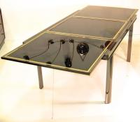 Extending Dining Table Smoked Chrome, Black Glass, Brass ...