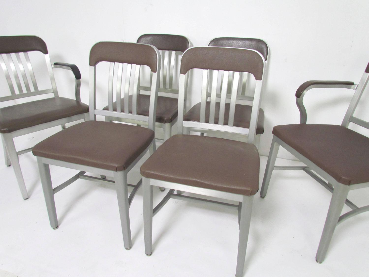 Navy Dining Room Chairs Set Of Six Goodform Industrial Aluminum Quotnavy Quot Dining