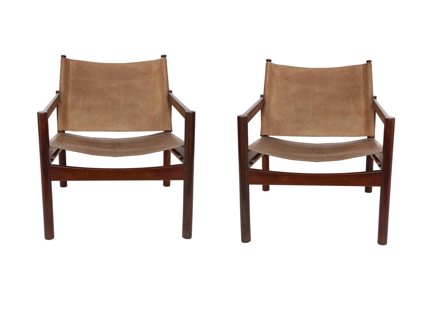 sling chairs for sale bamboo papasan chair pair of michel arnoult leather back