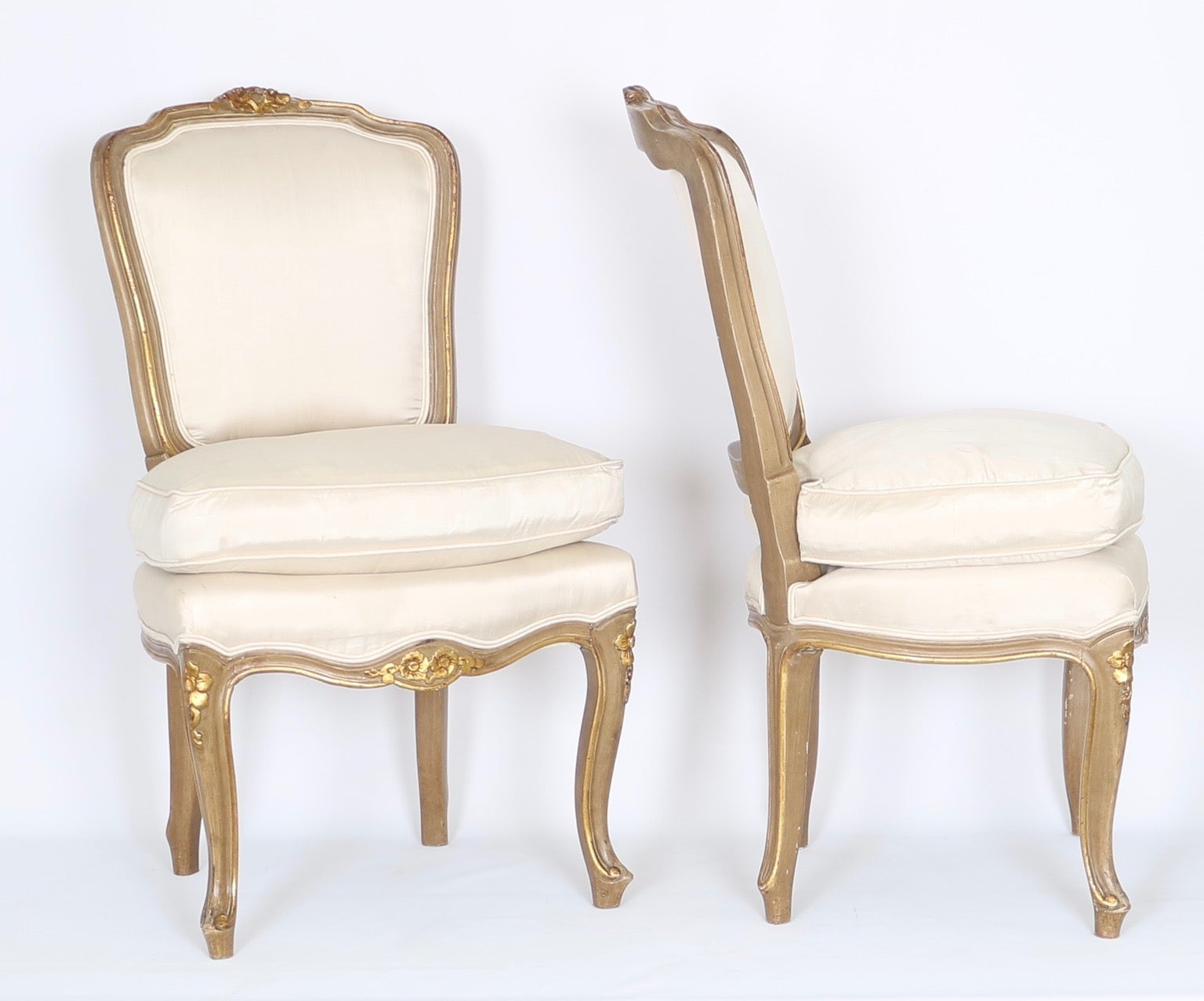 vanity chairs with back leather ottoman louis xv style petite gilded in off white silk on giltwood frames at 1stdibs