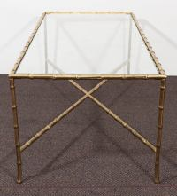 Mid-Century Brass Faux Bamboo Coffee Table by Maison ...