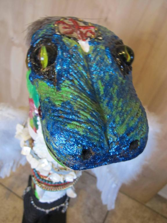 Winged Gecko Carved And Painted Wood By OL Samuels For