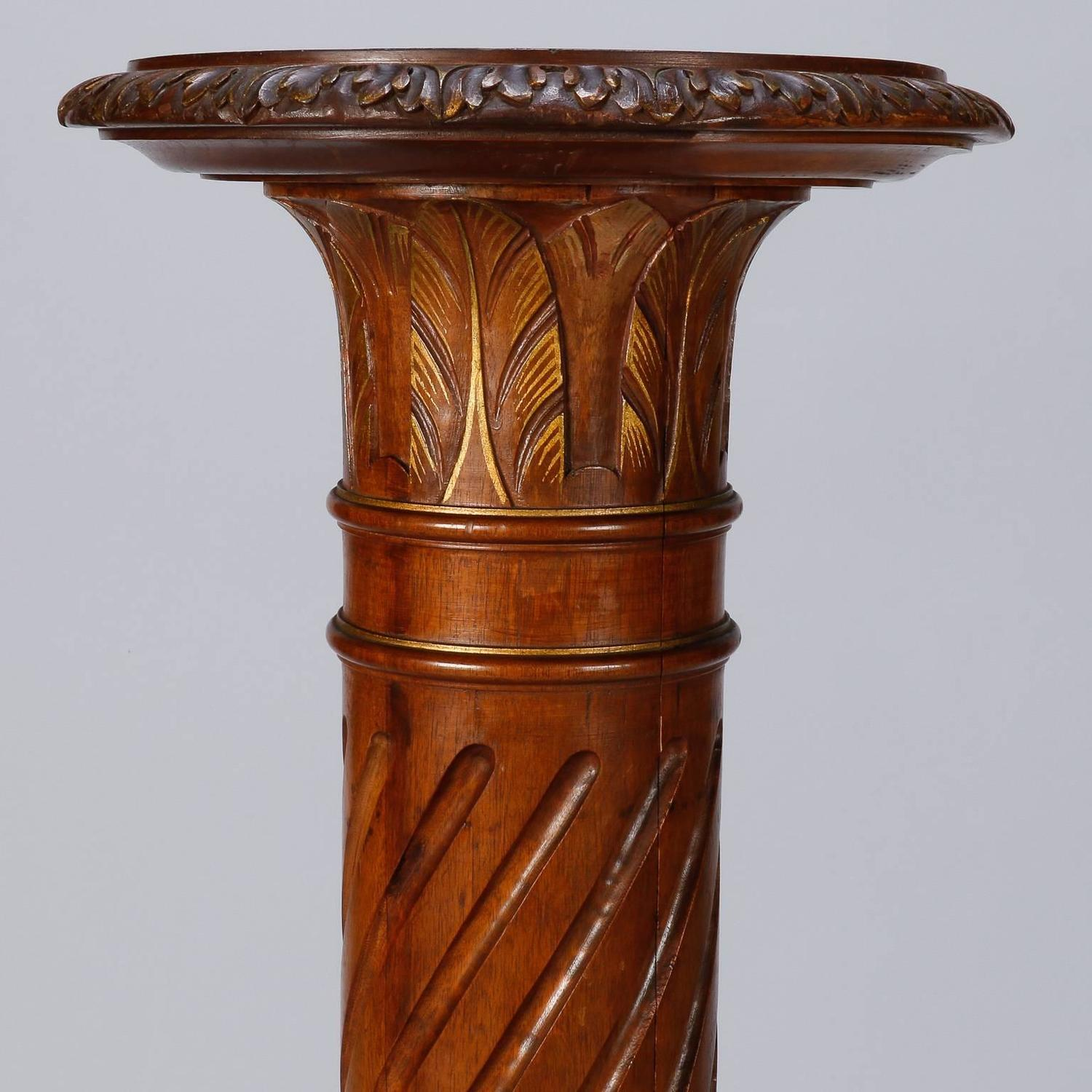 Tall Carved Wood Pedestal Plant Or Statue Stand For Sale
