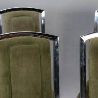 Set of Six Italian Mid-Century Chrome Brass Frame High ...