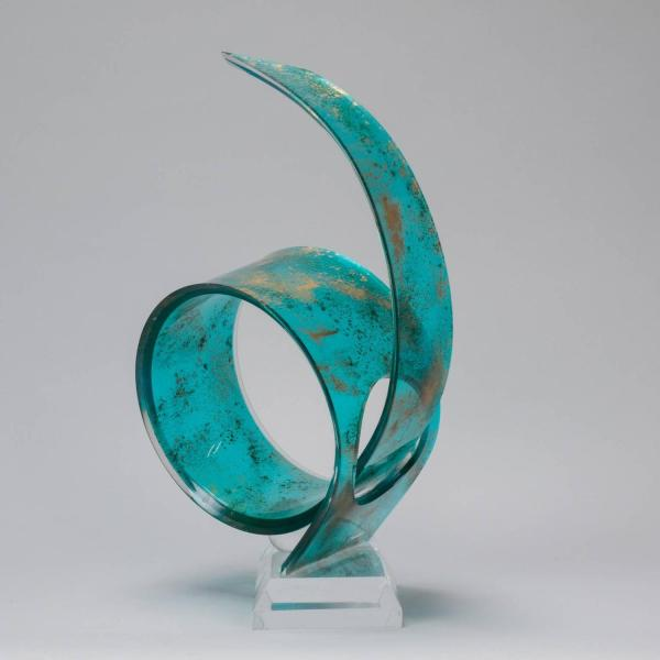 Shlomi Haziza Green And Gold Acrylic Sculpture