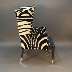 Cowhide Chairs Modern Folding Chair Bracket Pair Of Wingback In Zebra Printed