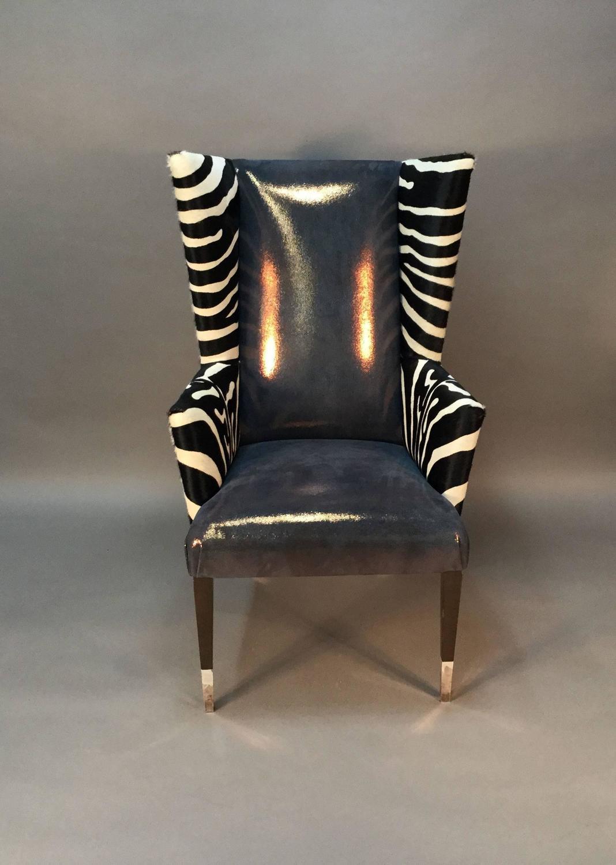 cowhide chairs modern standing task chair pair of wingback in zebra printed