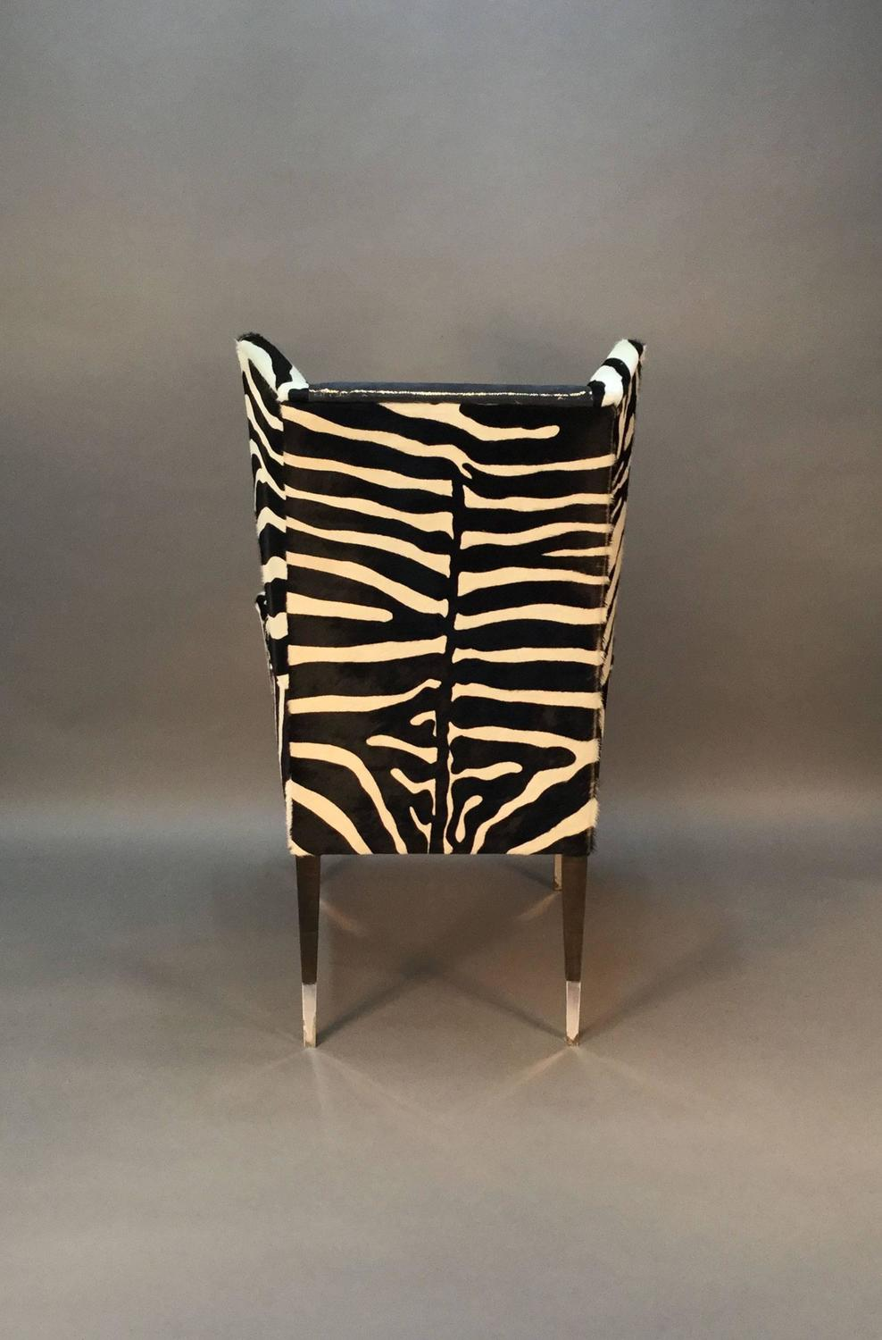 zebra print chairs for sale kitchen tables with pair of modern wingback in printed cowhide and faux shagreen at 1stdibs