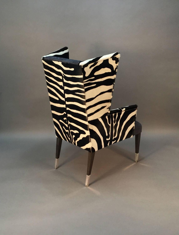 cowhide chairs modern knee office chair pair of wingback in zebra printed