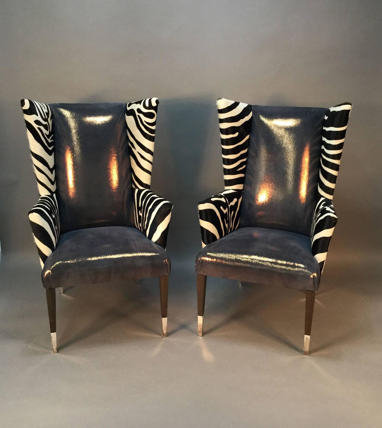 cowhide chairs modern mickey mouse for toddlers uk pair of wingback in zebra printed