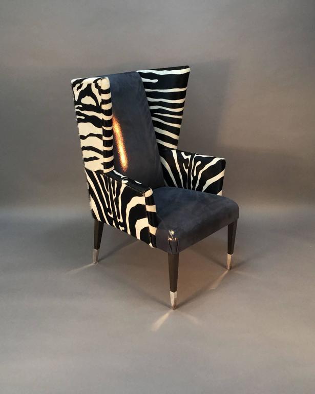 Pair of Modern Wingback Chairs in Zebra Printed Cowhide