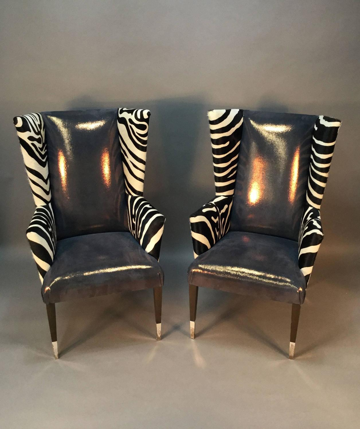zebra print chairs for sale what is the standard height to put a chair rail pair of modern wingback in printed cowhide