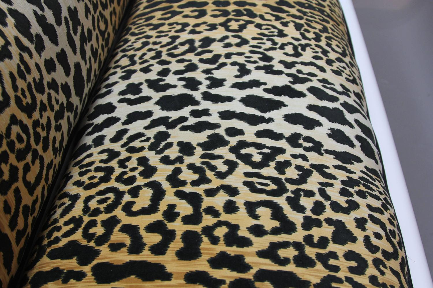 leopard print sofa appears sleeper solsta newly laquered and upholstered empire style in