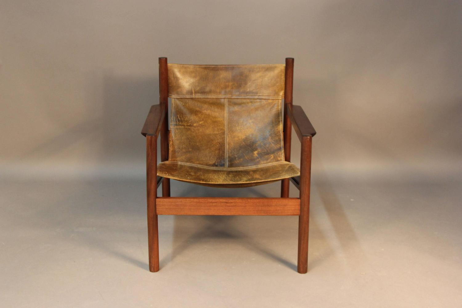 sling back chair hanging noosa michel arnoult distressed leather at 1stdibs