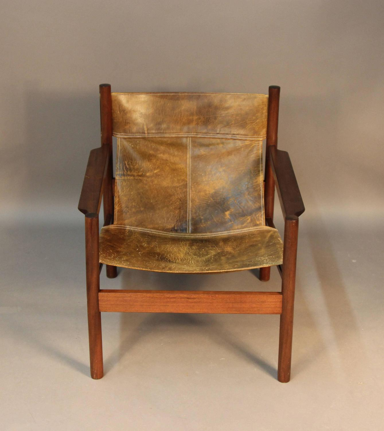distressed leather desk chair club chairs for living room michel arnoult sling back at 1stdibs