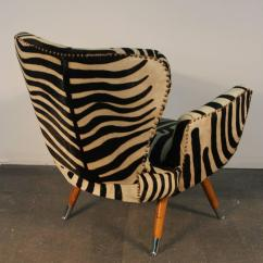 Z Chair Mid Century Folding Chairs Padded Incredible Pair Of Zebra Print Cowhide At 1stdibs