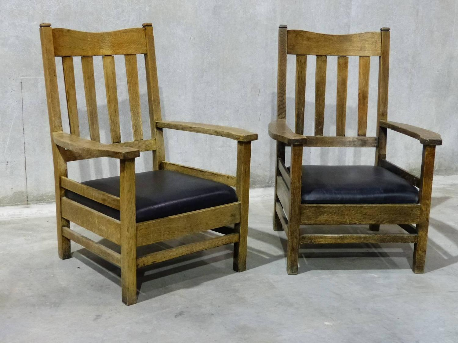 craftsman style chairs slip cover chair and ottoman 1920 large lodge lounge for sale at