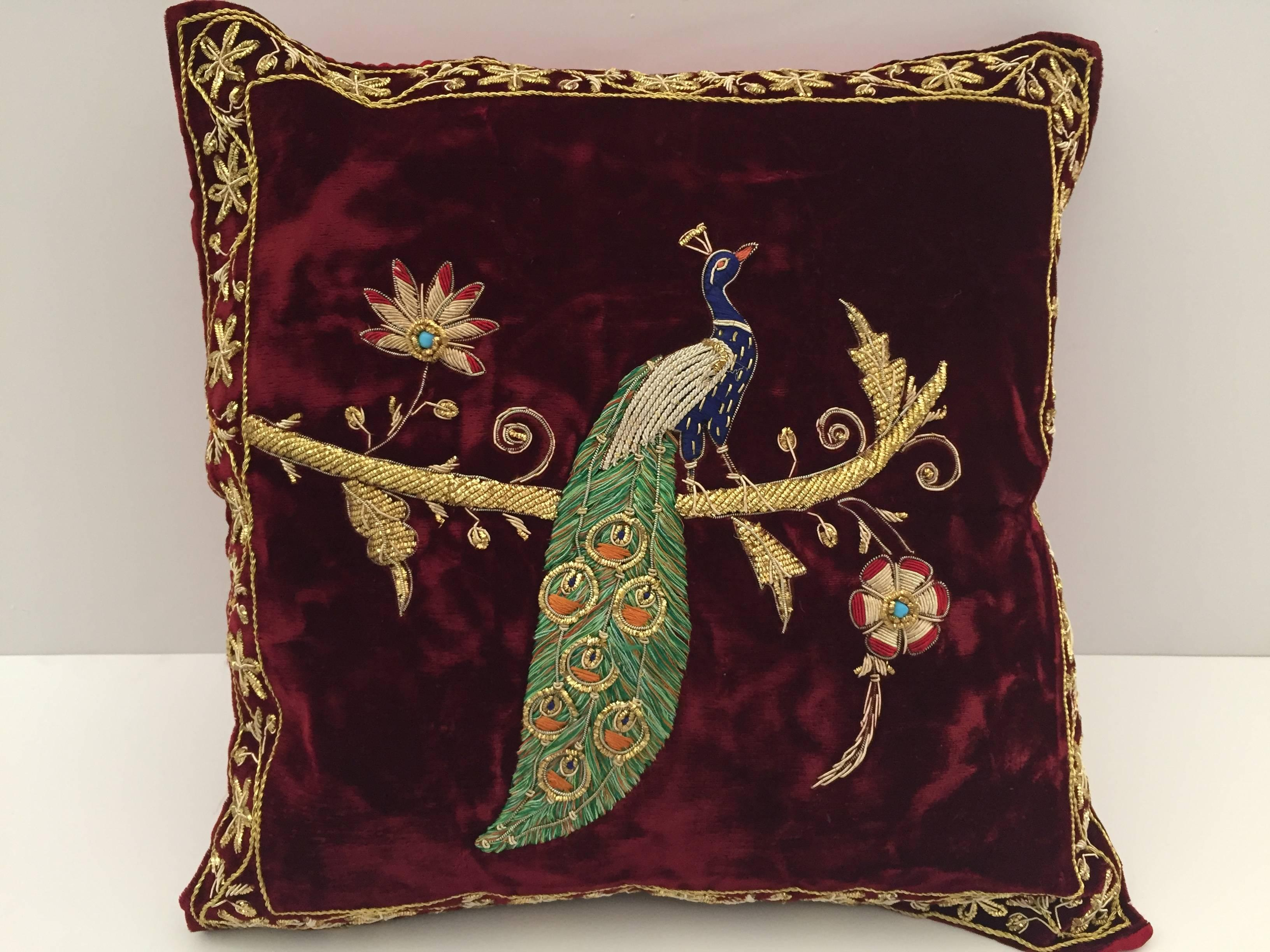 Velvet Burgundy Throw Silk Pillow Embroidered with Gold