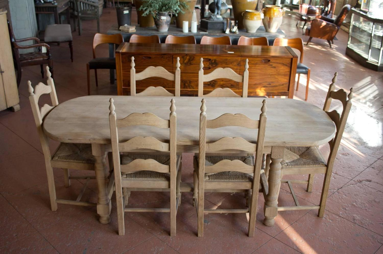 tall back dining chairs keekaroo high chair review vintage french oak oval table and six for sale at 1stdibs