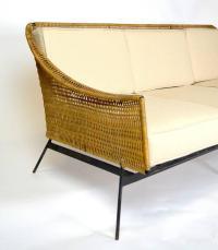 Mid-Century Modern Rattan and Wrought Iron Sofa at 1stdibs