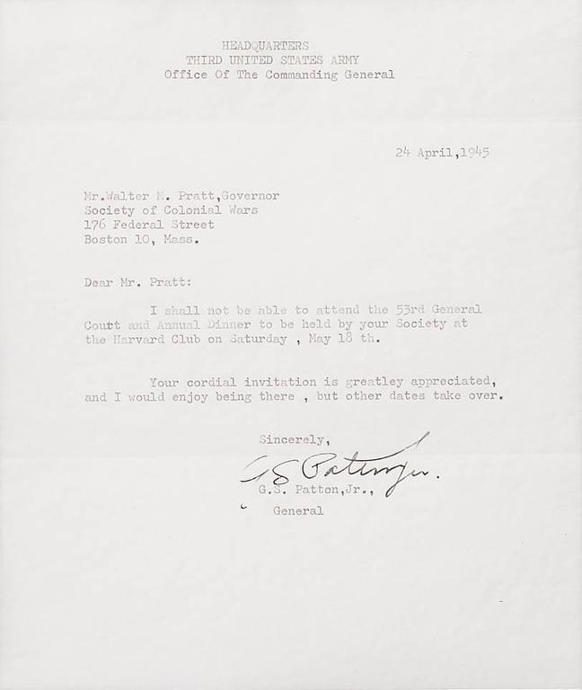 General George Patton Signed, Third Army, War Dated Letter