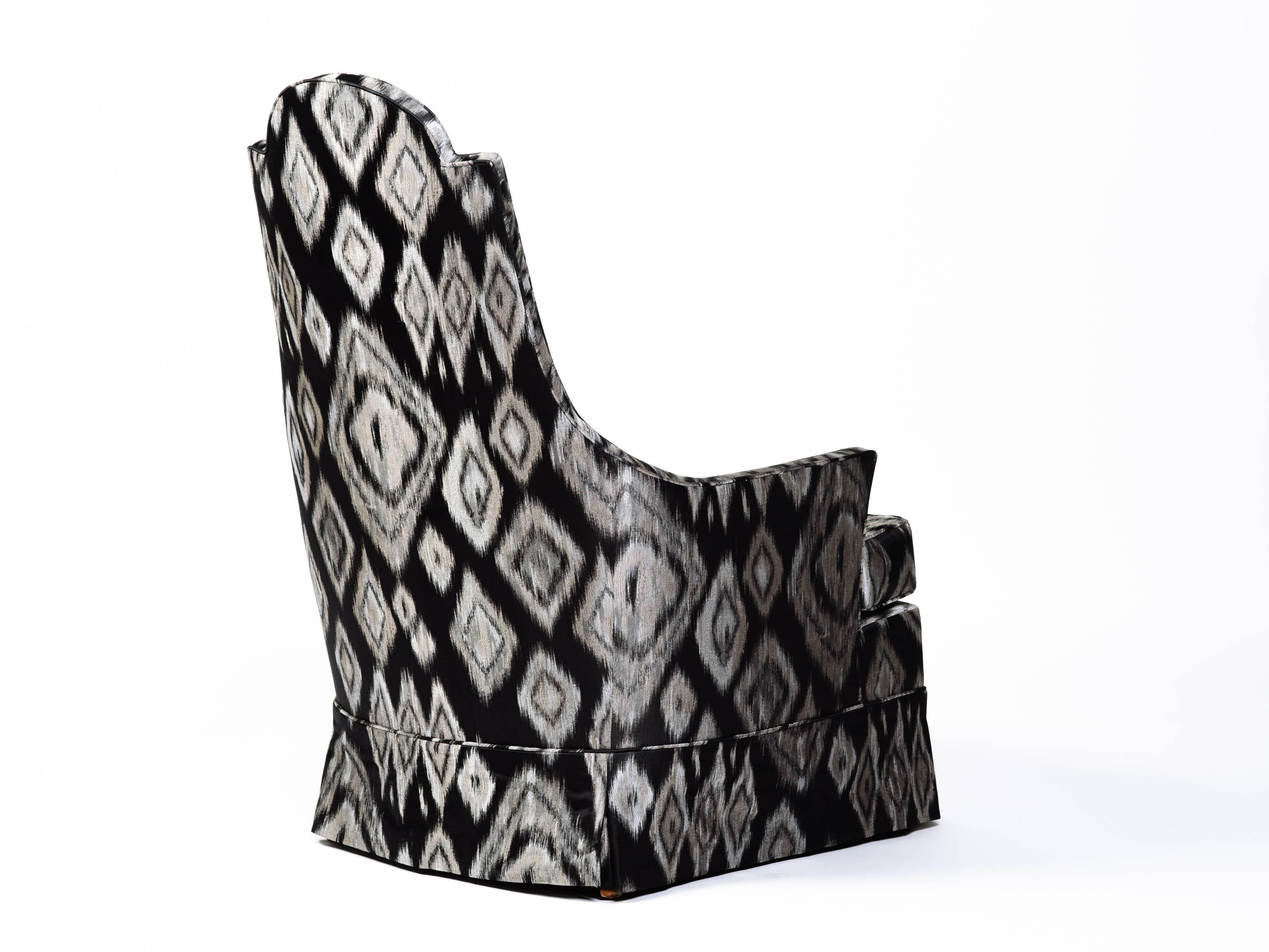 mid century modern cane barrel chairs sports authority pair of hollywood regency lounge in graphic ikat silk at 1stdibs