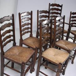 Antique Ladder Back Chairs With Rush Seats White Mesh Office Chair Set Of Eight Oak Dining All
