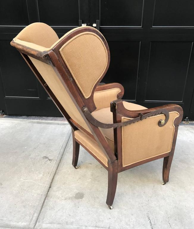 Antique Biedermeier Reclining Wingback Chair at 1stdibs