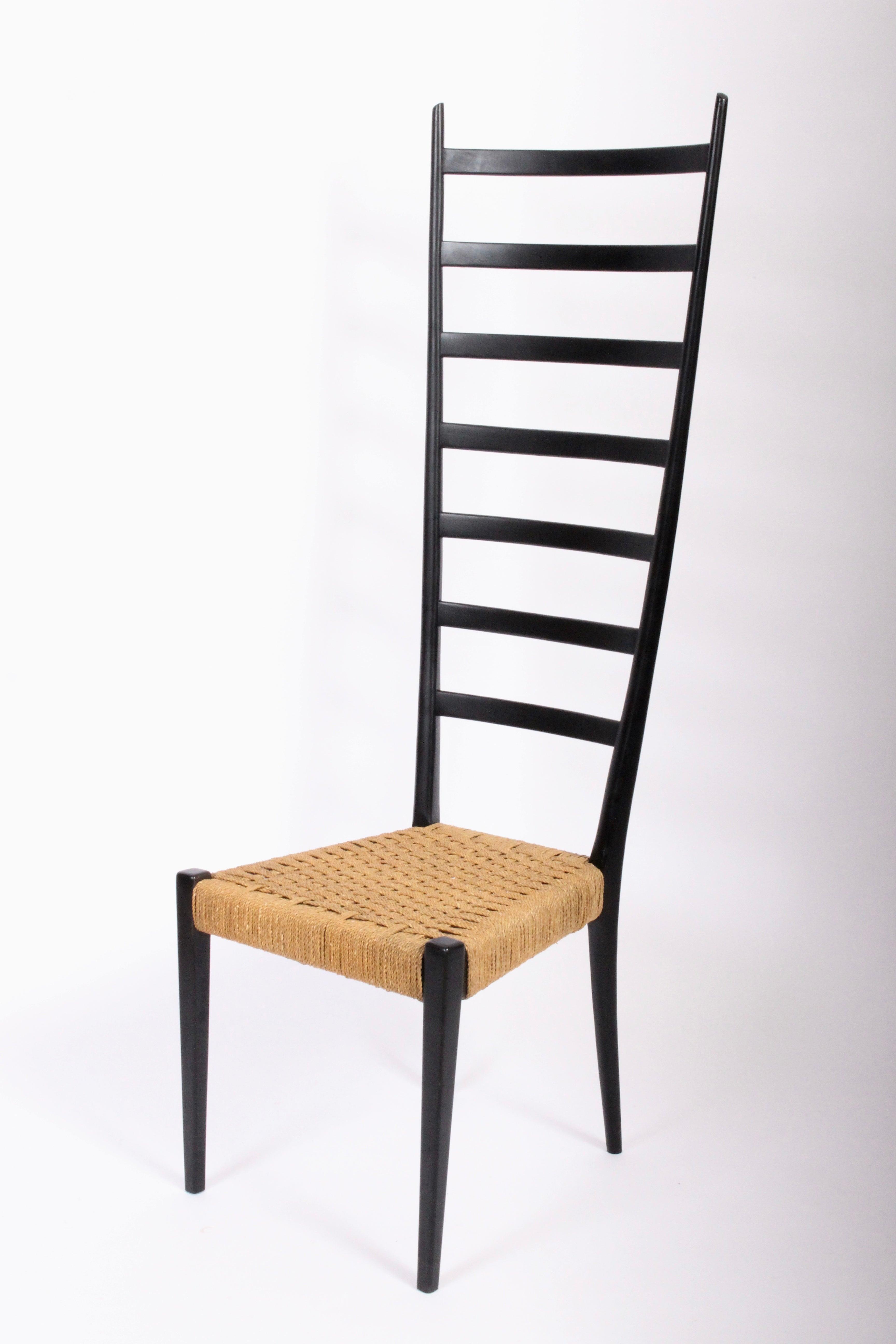 Chiavari Extra Tall Black Ladder Back Chair With Rush Seat Circa 1960 At 1stdibs