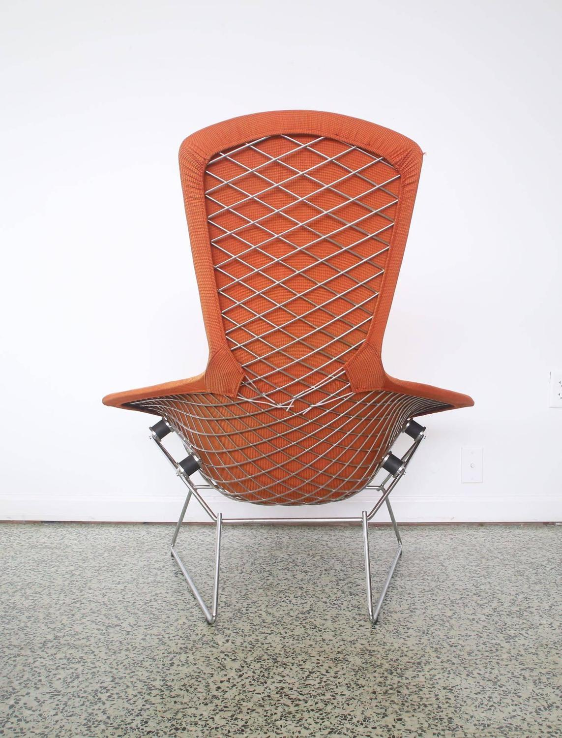 Bird Chair Orange Bertoia For Knoll Bird Chair And Ottoman 7 At 1stdibs