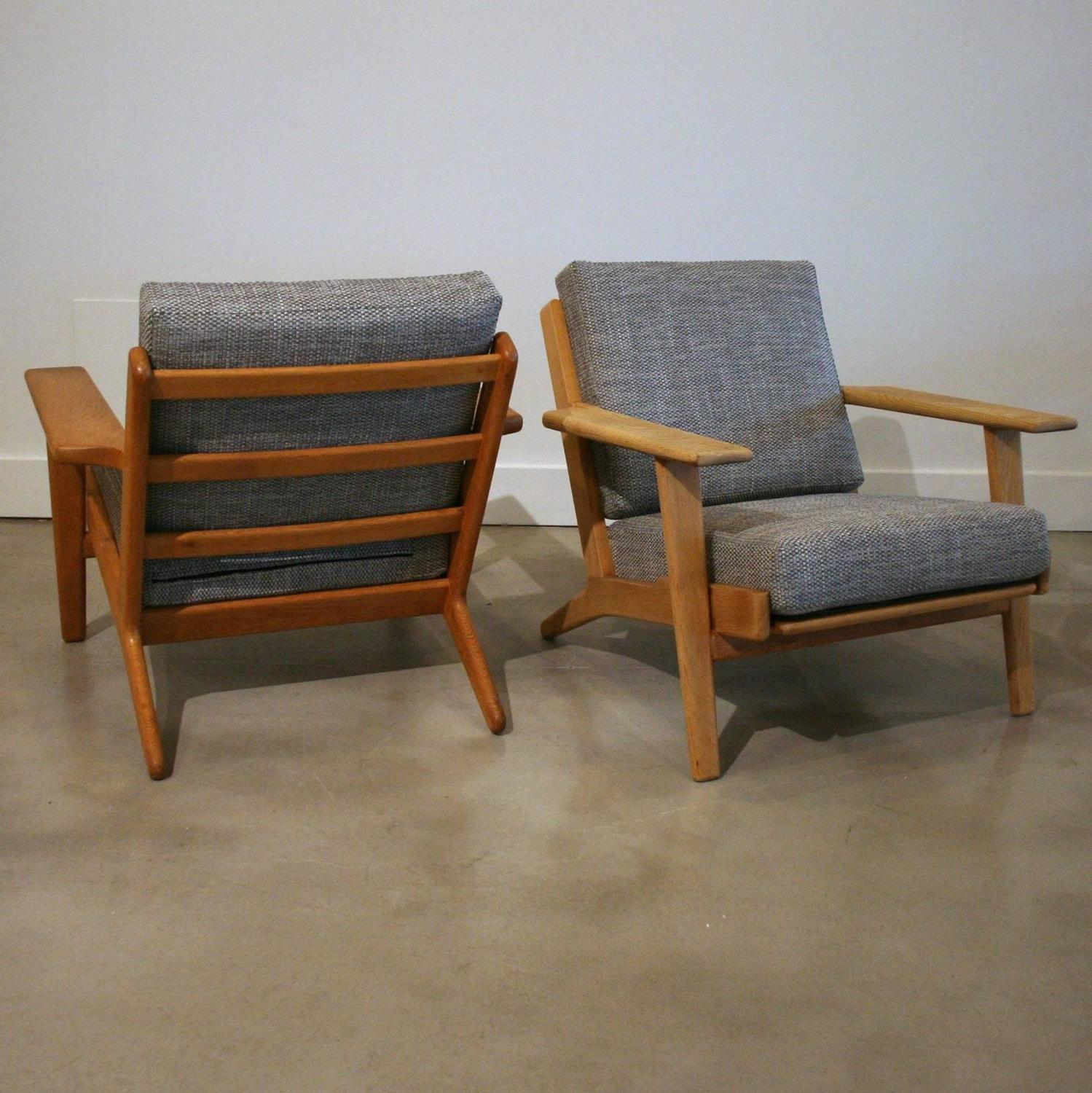 Wenger Chairs Pair Of Vintage Danish Oak Model 290 Lounge Chair By Hans