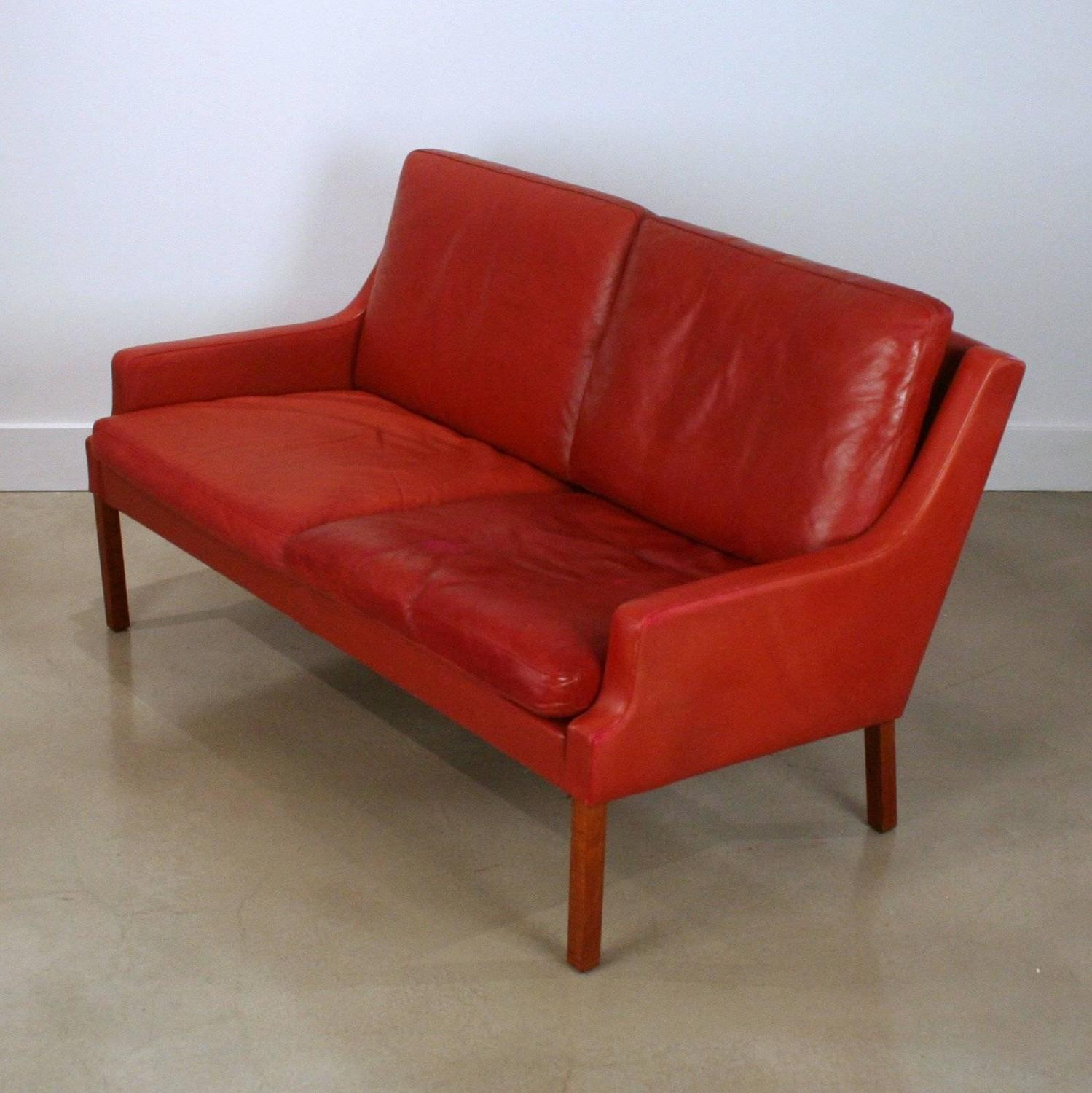 red leather two seater sofa ashley furniture kinlock charcoal vintage danish seat at 1stdibs