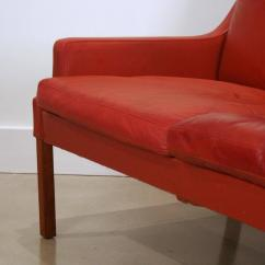 Red Leather Two Seater Sofa Dog Beds Uk Vintage Danish Seat At 1stdibs