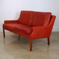 Red Leather Two Seater Sofa Console Table Behind Photos Vintage Danish Seat At 1stdibs
