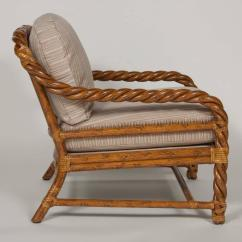 Wicker Chairs With Ottoman Underneath Best Geneva Gliding Caviar Velvet Pair Of Rattan Club And By Mcguire At 1stdibs