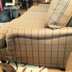 Large Seat Depth Sofas Ottoman Sofa Bed Traditional Camel Plaid Wool Ralph Lauren At 1stdibs