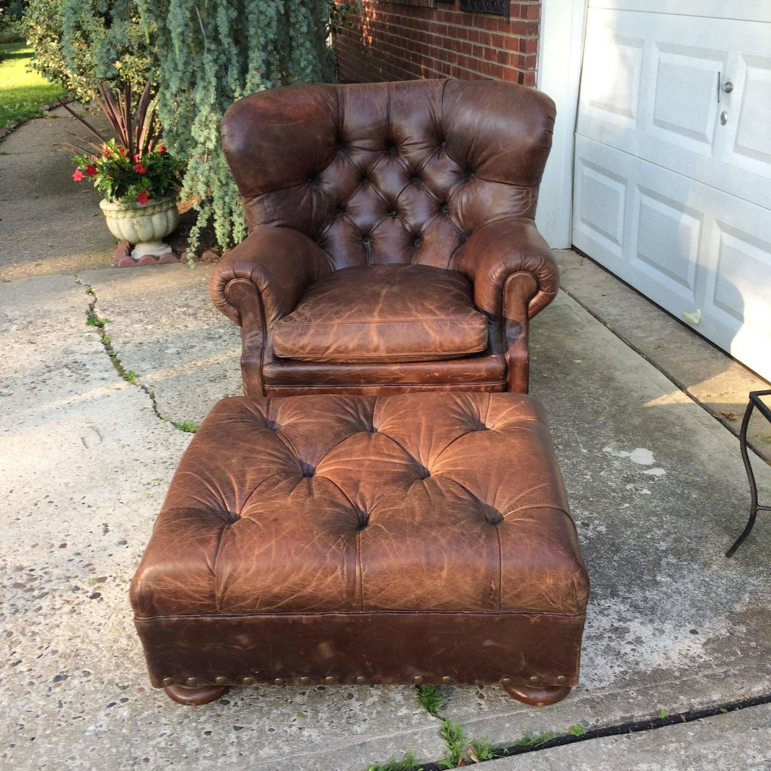 Small Leather Club Chair Handsome Large Ralph Lauren Button Tufted Club Chair And