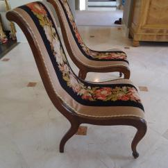 Antique Needlepoint Chair Realspace Fosner High Back Bonded Leather Pair Of And Velvet Fireside Chairs At