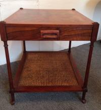 Mid-Century Baker Burl Wood and Cane Side Table For Sale ...