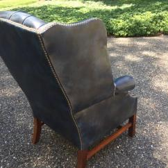 Navy Blue Wingback Chairs Replacement Graco High Chair Cover Fabulous Leather Tufted Wing For Sale At