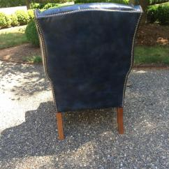 Navy Blue Wingback Chairs Antique Tiger Oak Dining Fabulous Leather Tufted Wing Chair For Sale At