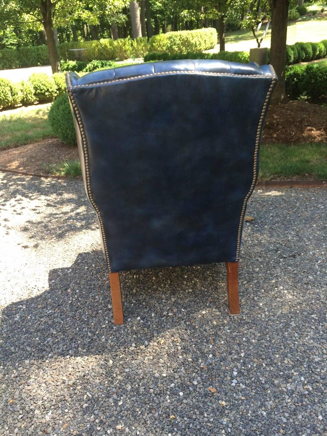 Navy Blue Wingback Chair Fabulous Navy Blue Leather Tufted Wing Chair For Sale At