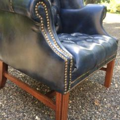 Navy Blue Leather Club Chair Canoe Mec Fabulous Tufted Wing For Sale At